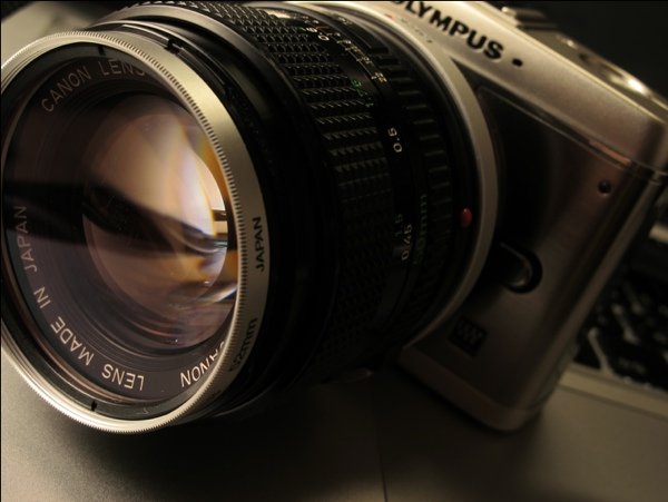 FD50mm F1.4をPENマイクロフォーザーズへ装着(マウントアダプター使用)