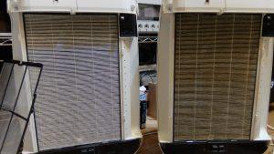 ダイキン空気清浄機TCK55M用交換フィルターKAFP017A4の後継 KAFP017B4喫煙環境のフィルター劣化比較